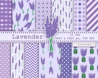 Lavender digital paper - 12 printable backgrounds, 3600x3600 px, 300 dpi - floral digital paper - lavender flowers pattern - free clip art