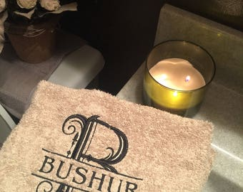 Monogrammed Bathroom Towels with Split Initial and Name