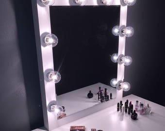 Xl Vanity mirror with Hollywood lighting.Perfect for Ikea vanitiy(BULBS NOT INCLUDED)