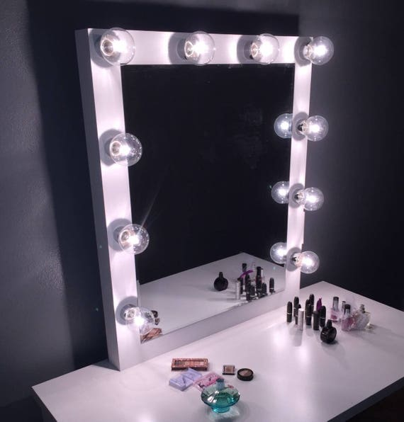 Xl vanity mirror with hollywood lighting perfect for ikea for Miroir hollywood ikea