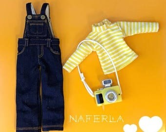 Blythe Dungarees Jeans + T Shirt - Yellow  and Camera Doll