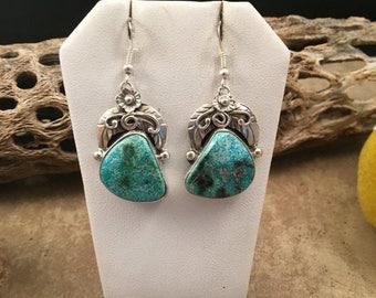 Spring Time Yet Vintage Navajo Blue Ridge Turquoise & Sterling Silver Dangle Earrings