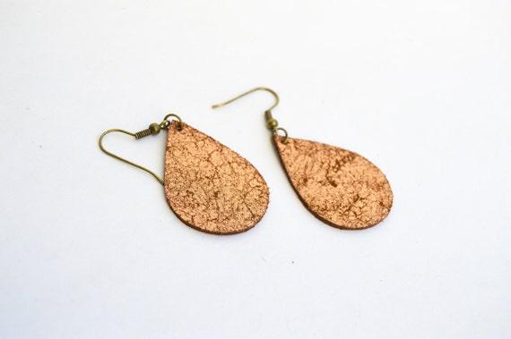 Leather Earrings: Small Leather  Tear Drop Earrings--Sapling Style Earrings Copper Earrings