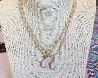 moonstone chain w/ charms