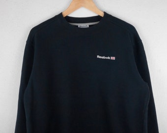 RARE!!! Reebok Classic Small Logo Crew Neck Black Colour Sweatshirts Hip Hop Swag L Size