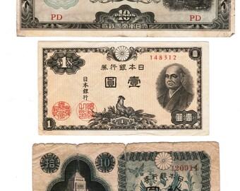 6 WWII Era Banknotes: Japan, Hungary, Netherlands