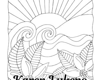 Sea Breeze, 1 Adult Coloring Book Page, Instant Download, Ocean, Flowers