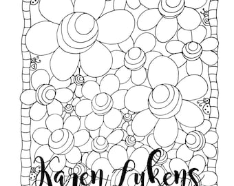 3D Flowers, 1 Adult Coloring Book Page, Printable Instant Download, Flower Doodles, Karen Lukens