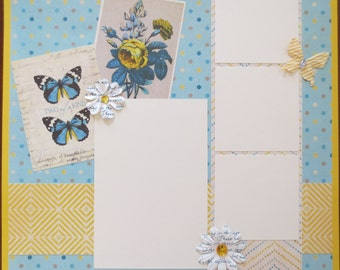 Butterflies - Single Page Premade Scrapbook Layout - 12X12