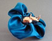 Silk Hair Scrunchie Sapphire Teal Scrunchie Silk Hair Tie Blue Hair Tie Blue Silk Scrunchie Blue Hair Tie Teal Scrunchie