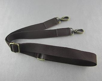 Dark Brown Cotton Webbing Bag Strap Adjustable Purse Strap Replacement