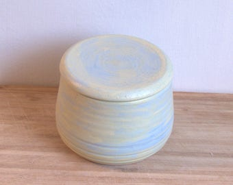 Handmade French Pottery Butter Crock, Mint Green and Baby Blue  ceramic French Butter dish.  Butter keeper.