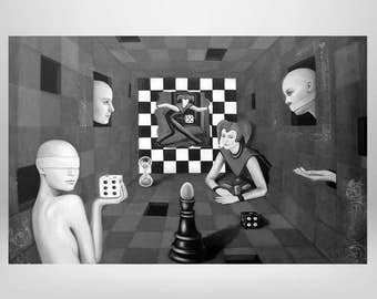 The senses in the power game of humanity 2, Joker, game, Chess Board, figures, art print on canvas surrealism, fantasy, symbolism
