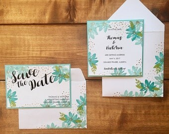 Floral Wedding Save the Date // Summer Wedding Save the Date // Custom Wedding Save the Date