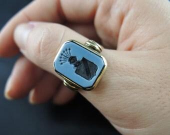 Chevalière camée agate nicolo - XIXe siècle /// Nicolo cameo agate signet ring - 19th century