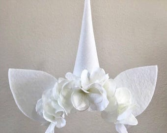 White Unicorn horn, unicorn headband, unicorn gift, unicorn costume, halloween costume, unicorn birthday, renaissance costume, unicorn party