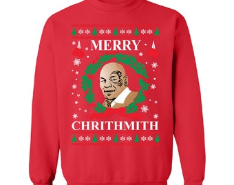 Merry Chirithmith Red Mike Tyson Ugly Christmas Sweater Unisex Sweatshirts Unisex Crew Neck Parody Ugly Sweater Shirt Best Ugly Sweater 2016