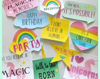 DIGITAL Rainbow Unicorn Photo Booth Props 18 props 1 poster  Sayings Speech Bubbles Editable Instant Download