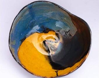 Ceramic medium bowl/ handmade bowl/ tricolor bowl/ for gift/ for her/ for wedding/ for birthday