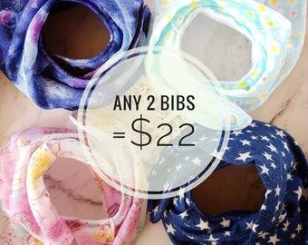 Baby Bib Set! Pick Any 2 from All Bibs! Bandana Bib, Dribble bib, Drool bib, Gauze Muslin Bib, Teething Bib, Gift for Baby Girl or Baby Boy!
