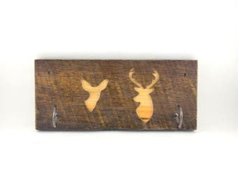 Buck and Doe Key Hooks, Rustic Hunting Cabin His and Hers Key Holder, 2 hook re-purposed wood, router carved, FREE SHIPPING in USA