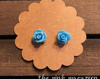 Blue Rose Earrings, Blue Flower Earrings, Rose Stud Earrings, Floral Earrings, Flower Earrings