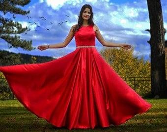 Formal Dress/Red A-Line Satin Formal Dress/Red Prom Dress