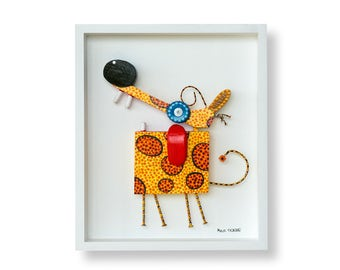 Yellow and Orange Spotted Dog Sculpture