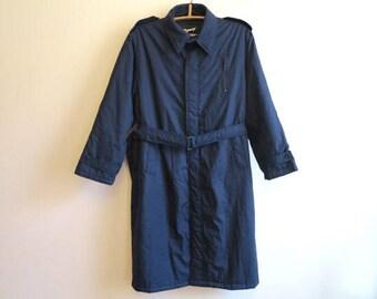 Vintage Mens Dark Blue Coat Navy Trench Coat Gentlemen's Trenchcoat Belted Overcoat Blue Raincoat Classic Preppy Men's Size 48