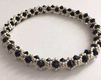 Black Bicone and Silver Bracelet