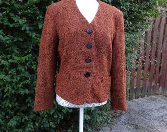 CHOISE by Danwear designer ladies jacket, orange and black virgin wool, Size UK 10