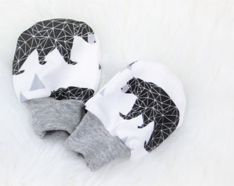 No scratch mittens with cuffs/newborn mittens/