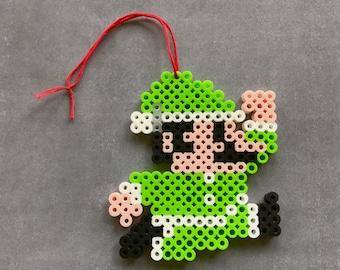 Super Mario Luigi Perler Bead Ornament, Super Mario, Luigi, Perler Bead, Nintendo, Christmas, Ornament, Pixel, 8 bit, Pixel Art, Video Game