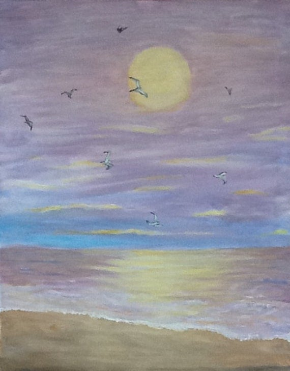 Currents.  Original Watercolor.  Seascape with seagulls.  Beach and sunsets.