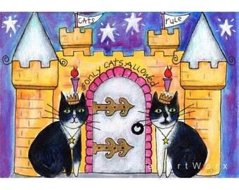 Cat Print, Tuxedo Cat Print, Cat Art, Cat Wall Art, Cat Home Decor, Cat Wall Decor, Cat Painting, Tuxedo Cat Art, Tuxedo Cat Painting