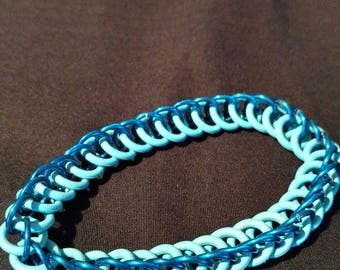 Blue and Light Blue Stretchy Chainmaille Bracelet