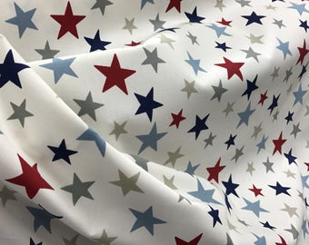 100% cotton linen look STARS  fabric  MATERIAL 140cm wide