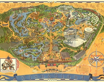Disneyland 1976 Hand-Retouched Vintage Cartoon Map Print (Not available anywhere else!)