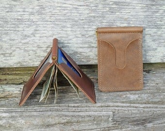 Horween Leather Money Clip Wallet, Minimalist Wallet,  Horween Wallet, Leather Simple Wallet, Leather Card Case