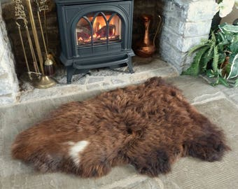Sheepland Organic Undyed Pure Sheepskin Rug in Brown (10)