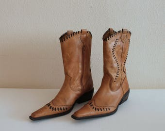 Camel Brown Boots Cowboy Boots Leather Boots Tan Brown Genuine Leather Boots Line Dancing Womens Boots Cowgirl Boots EUR 39 US 8.5 UK 6