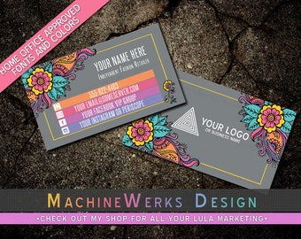 LuLa Business Card • LLR Business Cards • Home Office Approved Fonts and Colors • LuLa Marketing Materials Retailer • MachineWerks Floral