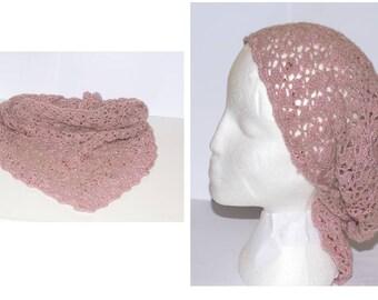 Pink bandana scarf with red beads handmade