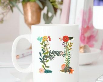 Custom Floral Initial Mug | Rustic Boho Monogram Coffee Cup | Personalized Mug |Office Work Coworker Gift | fl22