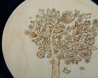 Pyrographic woodland art tree design wood wall plaque
