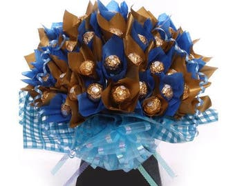 Chocolate bouquet for Him, Ferrero Rocher Chocolate Bouquet in Gold and Royal Blue, A Chocolate Treat For Him, Fast Delivery UK Chocolate
