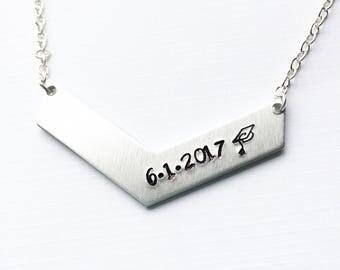 Graduation necklace, chevron necklace, graduation gift, graduation necklace, gift for her, graduation jewelry, gift for graduation