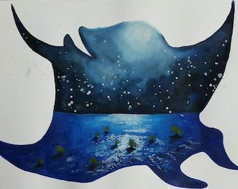 Watercolor painting of moana polynesian life inside of manta ray