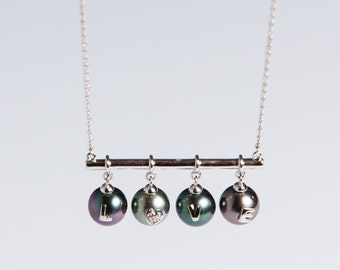 Tahitian Black Pearl Necklace with 4 pearls 7.8 to 8mm of natural color