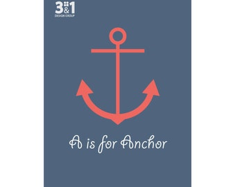 A Is For Anchor Alphabet Letters Nautical Theme Navy Or Beach